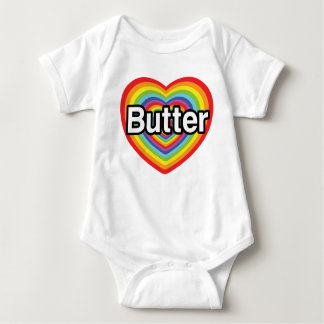 I love Butter: rainbow heart Baby Bodysuit