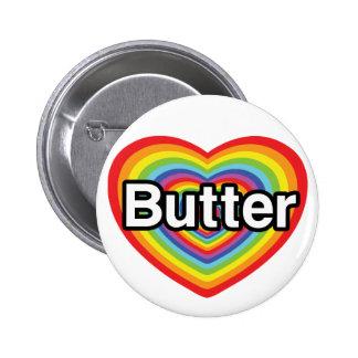 I love Butter: rainbow heart Button