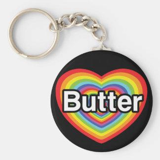 I love Butter: rainbow heart Keychain