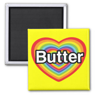 I love Butter: rainbow heart Refrigerator Magnets