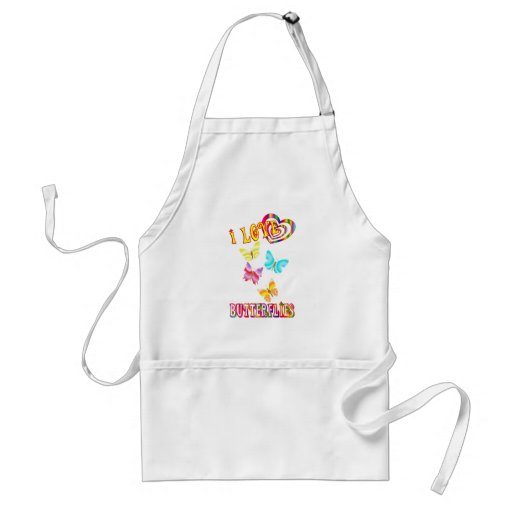 I LOVE BUTTERFLIES ADULT APRON