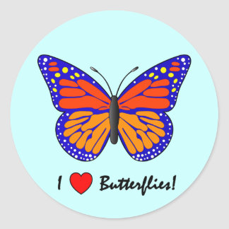 I Love Butterflies! Classic Round Sticker