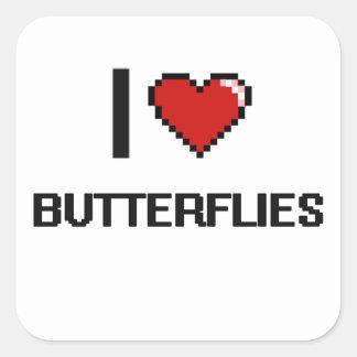 I Love Butterflies Digital Retro Design Square Sticker