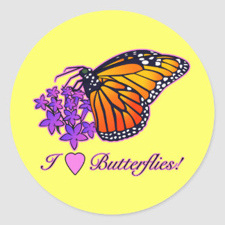 I Love Butterflies: Monarch and Starflowers Classic Round Sticker