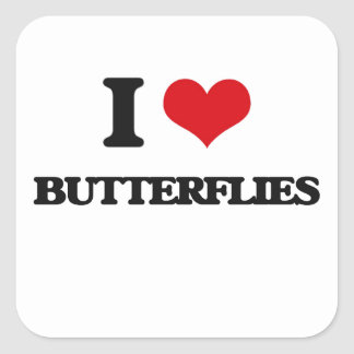 I Love Butterflies Square Stickers