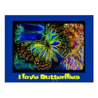 I love Butterfly Digital Art Postcard