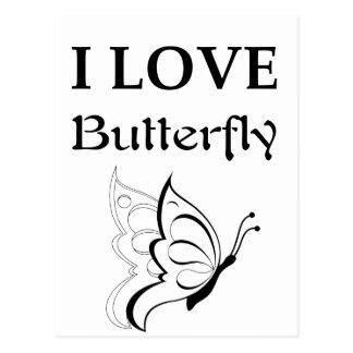 I Love Butterfly Postcard