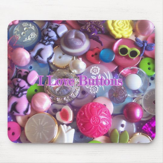 I Love buttons Mouse Pad