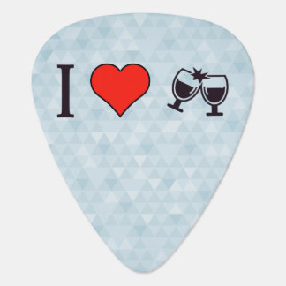 I Love Buzing Wine Glasses Guitar Pick