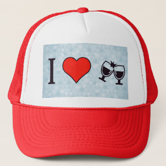 I Love Buzing Wine Glasses Trucker Hat