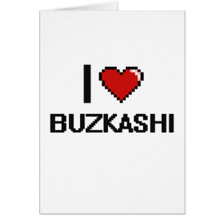 I Love Buzkashi Digital Retro Design Greeting Card