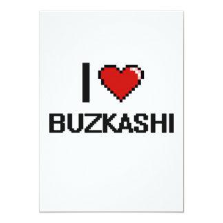 "I Love Buzkashi Digital Retro Design 5"" X 7"" Invitation Card"
