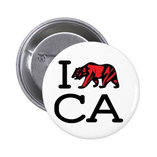 I Love CA - Bear - Button