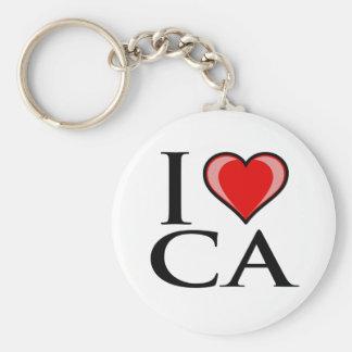 I Love CA - California Basic Round Button Keychain