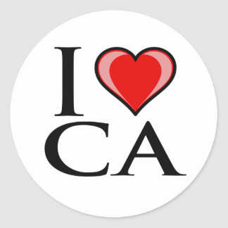 I Love CA - California Classic Round Sticker
