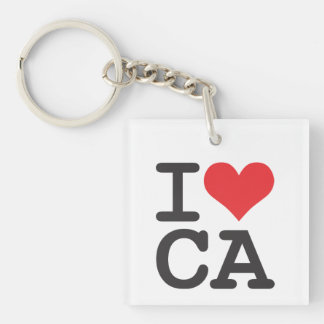 I Love CA Square (double-sided) Keychain