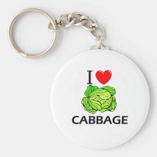 I Love Cabbage Basic Round Button Keychain