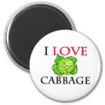 I Love Cabbage Magnets