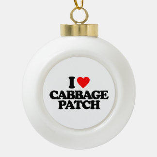 I LOVE CABBAGE PATCH CERAMIC BALL CHRISTMAS ORNAMENT