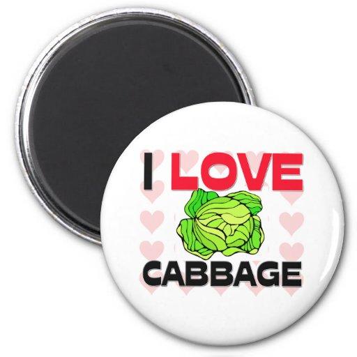 I Love Cabbage Refrigerator Magnet