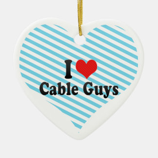 I Love Cable Guys Double-Sided Heart Ceramic Christmas Ornament