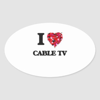 I love Cable TV Oval Sticker