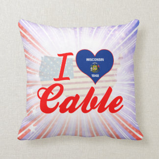 I Love Cable, Wisconsin Throw Pillow