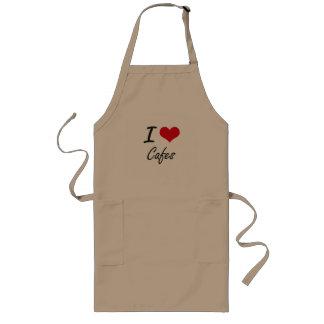 I love Cafes Artistic Design Long Apron