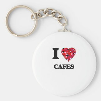 I love Cafes Basic Round Button Keychain