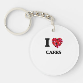 I love Cafes Single-Sided Round Acrylic Keychain