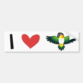 I Love Caiques / Lovebird / Pionus / Parrots Bumper Sticker