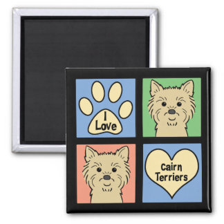 I Love Cairn Terriers 2 Inch Square Magnet