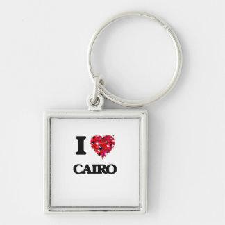 I love Cairo Egypt Silver-Colored Square Keychain