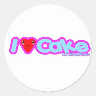 I love Cake cute Kawaii heart kids girls an ladies Classic Round Sticker