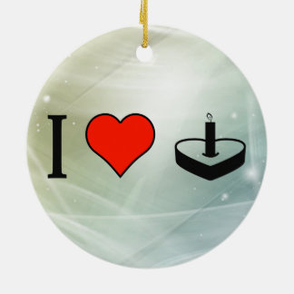 I Love Cakes In Heart Shape Double-Sided Ceramic Round Christmas Ornament