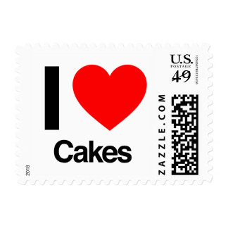 i love cakes postage stamp