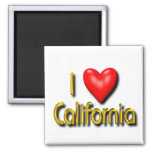 I Love California 2 Inch Square Magnet