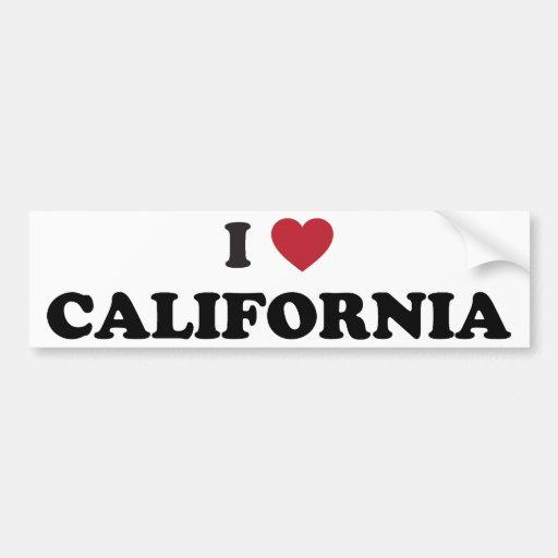 I Love California Car Bumper Sticker