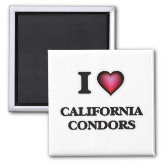 I Love California Condors 2 Inch Square Magnet