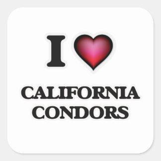 I Love California Condors Square Sticker