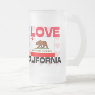 I Love California Frosted Glass Beer Mug