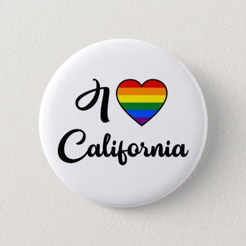 I Love California  LGBT Rainbow Pride Button