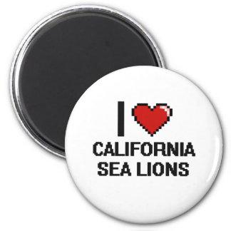 I love California Sea Lions Digital Design 2 Inch Round Magnet