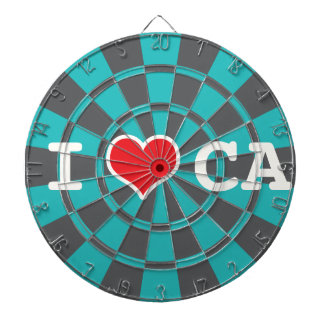 I Love California, Turquoise And Charcoal Gray Dartboards