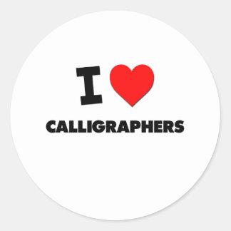 I Love Calligraphers Round Sticker