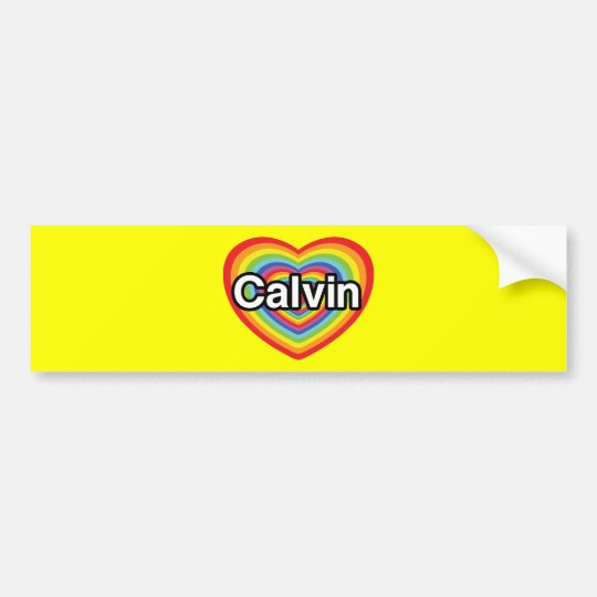 I love Calvin: rainbow heart Bumper Sticker