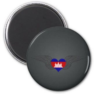 I Love Cambodia -wings 2 Inch Round Magnet