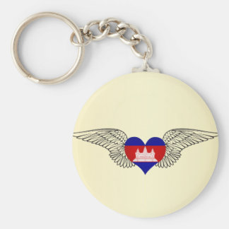 I Love Cambodia -wings Basic Round Button Keychain