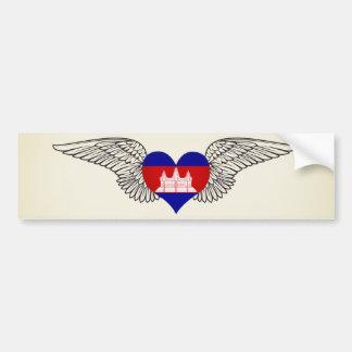 I Love Cambodia -wings Car Bumper Sticker