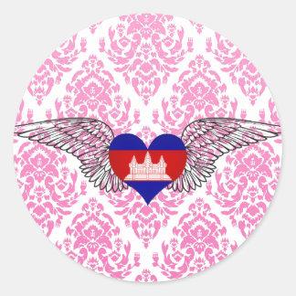 I Love Cambodia -wings Classic Round Sticker